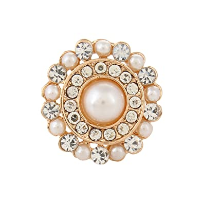 Fayon Gold Pearls And Diamonds Ring For Women at amazon