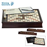Winning Solutions  Scrabble Deluxe Wooden Edition with Rotating Game Board (Color: Multi, Tamaño: 15.75 in.)
