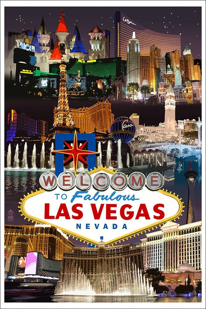 Amazon.com: Las Vegas Casinos and Hotels Montage (24x36 Giclee ...