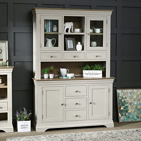 French Country Grey Painted Oak Large Glazed Dresser