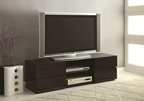 TV Stands High Gloss Black TV Stand with Glass Shelf