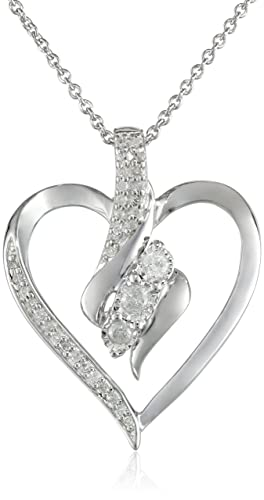 Sterling-Silver-Diamond-Heart-Pendant-Necklace-1-4-cttw-18-