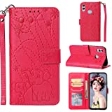 Yobby Wallet Case for Huawei Honor 10 Lite/P Smart 2019,Embossing Elephant Pattern Rose Red Phone Case PU Leather Magnetic Slim Flip Cover with Card Holder and Wrist Strap Stand Shockproof Cover (Color: Rose Red)