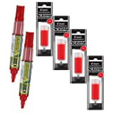 Refillable Dry Erase Markers, Pilot V Board Master, 2 Red Ink Chisel Tip Low Odor Markers with 4 Refills, P1a439166p (Color: Red, Tamaño: 6-Pack)