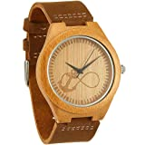WONBEE Bamboo Wooden Watches Infinity Anchor Design with Cowhide Leather Strap Unisex WONBEE Bamboo Wood Watches Skull Design with Cowhide Brown Leather Strap Unisex Packed in Gift Box (Color: Anchor One, Tamaño: one size)