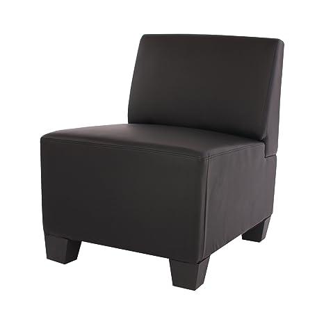 Modular Sessel ohne Armlehnen, Mittelteil Lyon, Kunstleder ~ schwarz