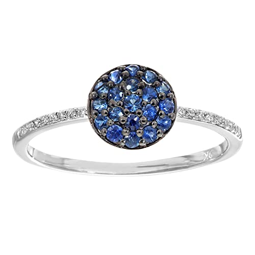 Naava 9 ct White Gold Diamond and 0.33ct Sapphire Round Ring - Size J