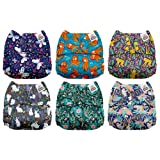Mama Koala One Size Baby Washable Reusable Pocket Cloth Diapers, 6 Pack with 6 One Size Microfiber Inserts (Mighty Wild) (Color: Mighty Wild, Tamaño: One Size)