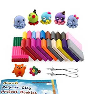 CiaraQ Polymer Clay Starter Kit, 24 Colors Safe and Nontoxic Soft DIY Modelling Moulding Clay, Baking Clay Blocks, 5 Sculpting Tools and Accessories (Color: 24 color(W))