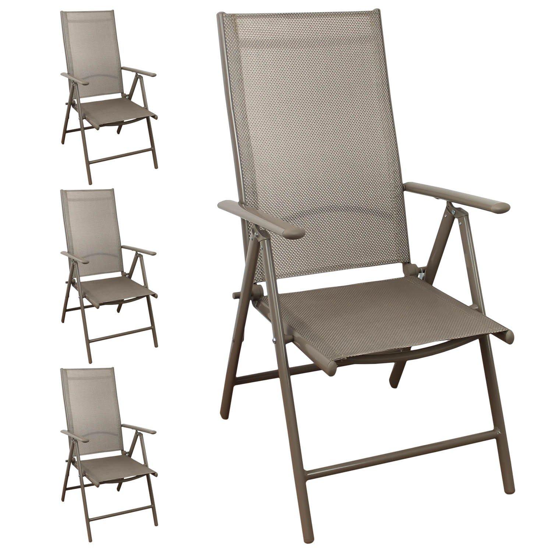4 Stück Aluminium Hochlehner, hochwertige 4x4 Textilenbespannung, 8-fach verstellbar, klappbar, Champagner - Gartenstuhl Liegestuhl Positionsstuhl Klappstuhl Terrassenmöbel Balkonmöbel Gartenmöbel