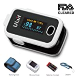 ULAIF Fingertip Pulse Oximeter with OLED Display Portable Oximetry Blood Oxygen Saturation Monitor SpO2 Finger Pulse Oximeter Readings with Carrying Case Silicon Case Lanyard and Batteries FDA Cleared (Color: White)