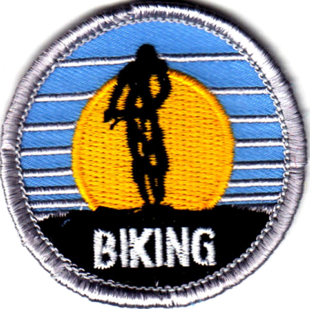 "(Single Count) Custom and Unique (2"" Inches) Round Sports Outdoor Summer Activity ""Biking"" Iron On Embroidered Applique Patch {Black, Yellow, Blue and White Colors}"