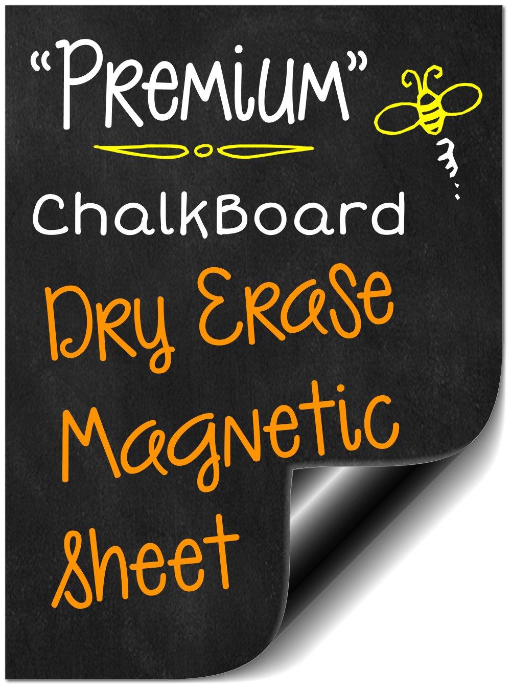 "Bigtime 16"" Flexible Magnetic Black Dry Erase Chalkboard Design | Message Board for Refrigerator | Use as Weekly Planner Calendar | Make Your Own Behavior or Reward Chart | Magnet Sheet is Cuttable"