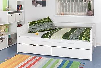 """Bett mit Stauraum """"Easy Sleep"""" K1/s Voll inkl 2 Schubladen und 2 Abdeckblenden, 90 x 200 cm Buche Vollholz weiß lackiert"""