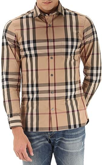 B01M3X8IH8Burberryチェックストレッチコットンブレンド' Nelson 'ボタンフロントシャツ