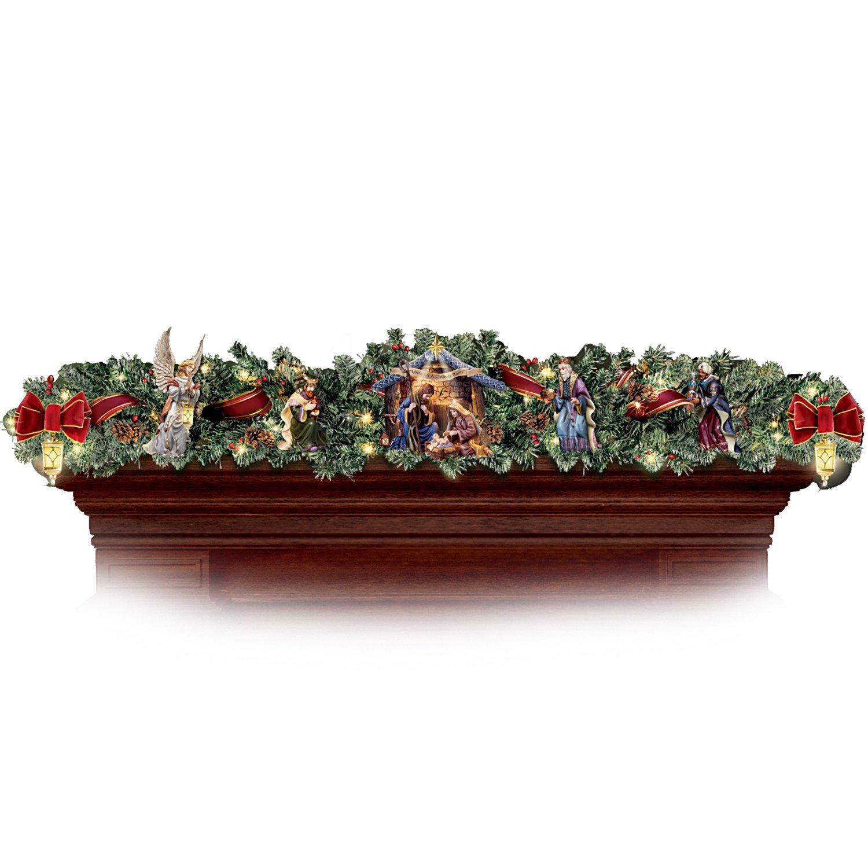Thomas kinkade o holy night christmas stocking - Thomas Kinkade Nativity Garland Set By Hawthorne Village