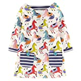 Girls Cotton Longsleeve Pocket Dresses Special Occasion Cartoon Print by Fiream(1035TZ,5T/5-6YRS) (Color: 11035tz, Tamaño: 5T/5-6YRS)