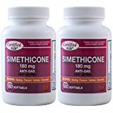 Simethicone 180 mg 360 Softgels Anti-Gas Generic for Phazyme Ultra Strength Fast Relief of Stomach Gas and Bloating 180 Gelcaps per Bottle Pack of 2 Total 360 Gelcaps (Tamaño: 2 Bottles Total 360 Gelcaps)