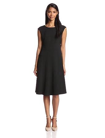 Jones New York Women's Cap Sleeve Solid Banded Dress, Black, 4