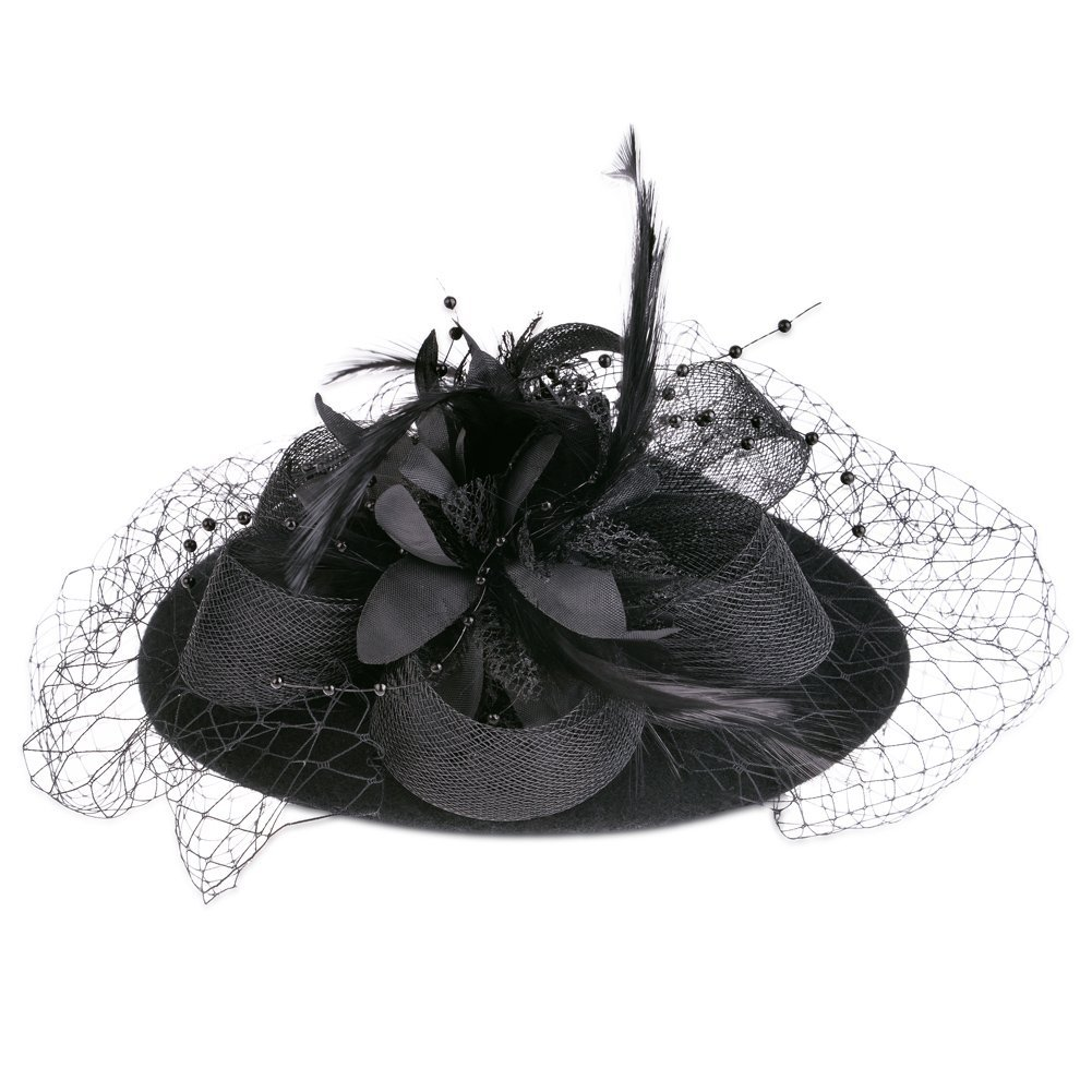 Vbiger Women's Fascinator Wool Felt Pillbox Hat Cocktail Party Wedding Bow Veil 3