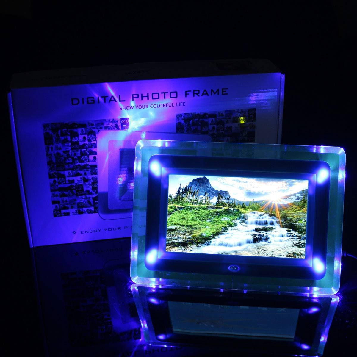 INSMA 7 Inch TFT-LCD Remote Control Digital Photo Frame MP3 Player Alarm With LED Light Blue