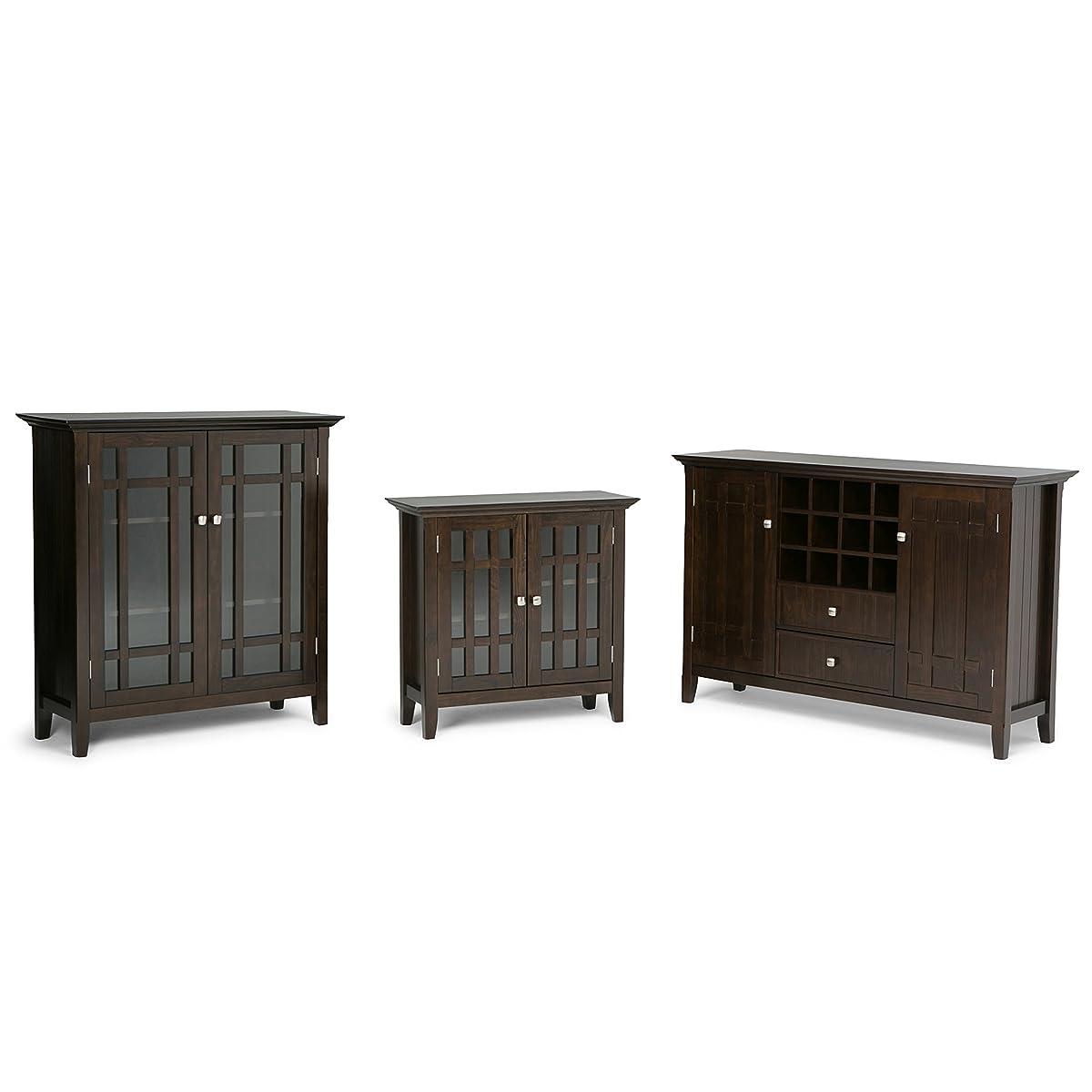 Simpli Home Bedford Low Storage, Dark Tobacco Brown