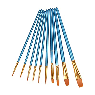 Heartybay 10Pieces Round Pointed Tip Nylon Hair Brush Set, Blue via Amazon