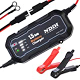 NDDI Automatic Battery Trickle Charger Maintainer 12V 1500mA Smart Float Battery Charger with LED Charging State Lights for Car Boat Lawn Mower(1.5A)
