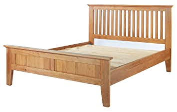 Camberley Oak 5'' King sized Bed Frame in Light Oak Finish | Solid Wood Bedroom 5FT Guest Bedstead