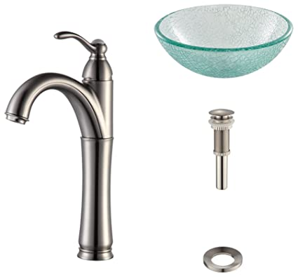 "Kraus C-GV-500-14-12mm-1005SN Broken Glass 14"" Vessel Sink and Riviera Faucet Satin Nickel"