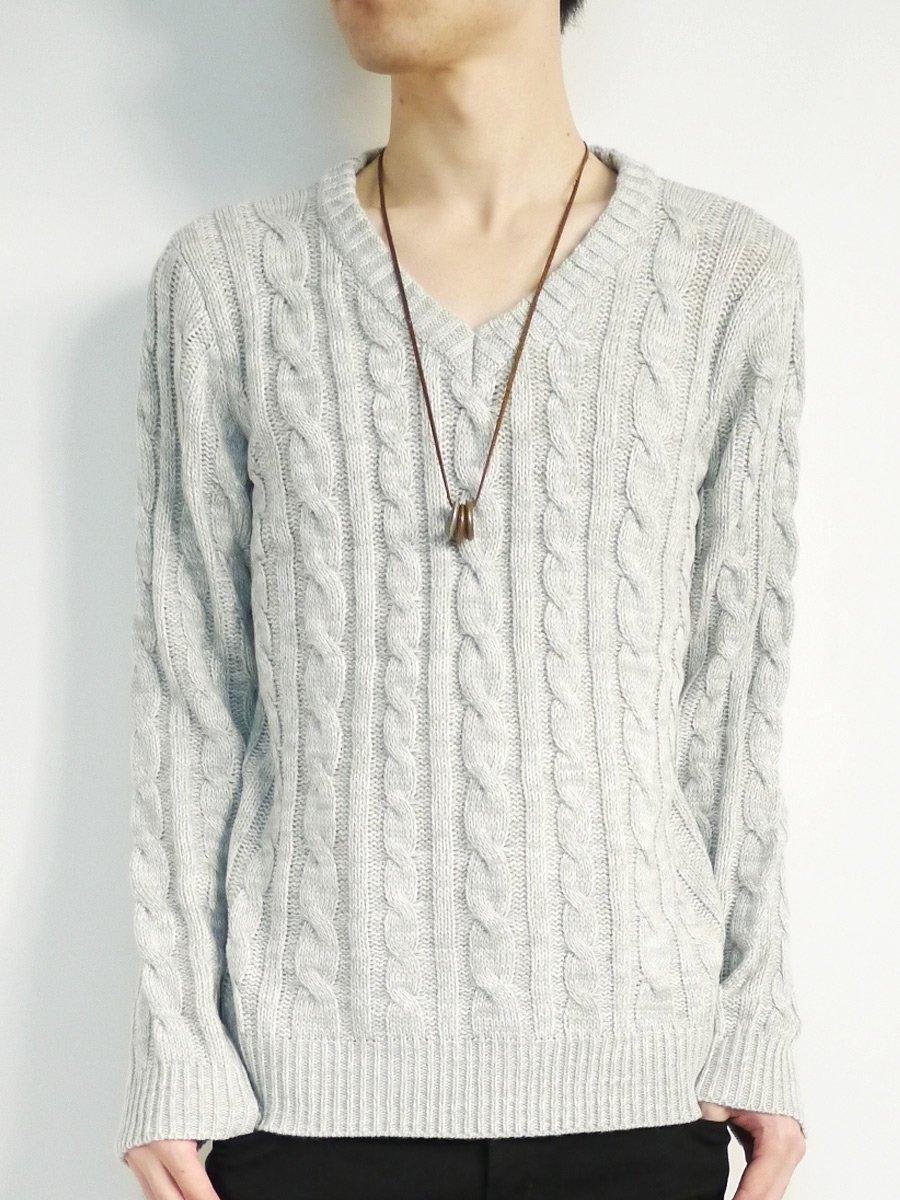 (モノマート) MONO-MART MONO-MART 8color セーター ケーブル編み Vネック デザイナーズ メンズ 暖かい ニット