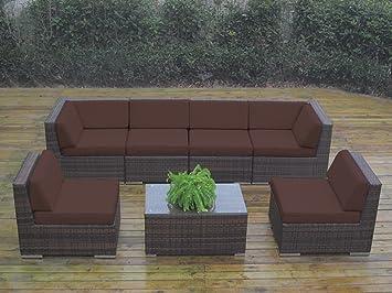 Genuine Ohana Outdoor Patio Sofa Sectional Wicker Furniture Mixed