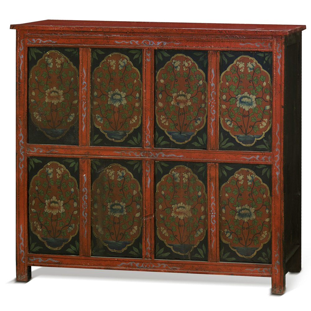 China Furniture Online Elmwood Cabinet, Hand Painted Floral Motif Tibetan Style High Chest Distressed Red and Blue 0