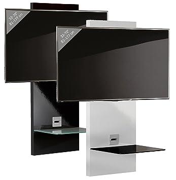 """VCM, Mobile porta TV a muro """"Scala 1"""" con supporto per TV a schermo piatto e mensola per lettore DVD, Bianco (Weiß)"""