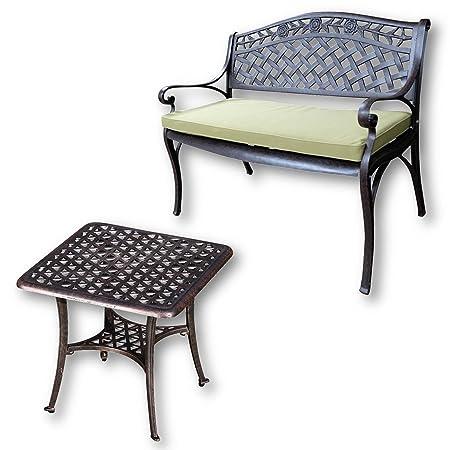 Lazy Susan - Mesa de centro cuadrada de jardín SANDRA y banco ROSE - Muebles en fundición de aluminio, color Bronce Antiguo (cojín verde)