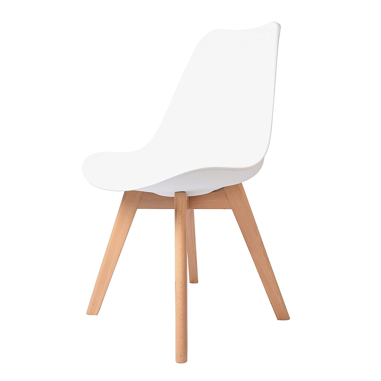 Buschman Set of Two White Eames-Style Mid Century Modern Dining Room Wooden Legs Soft Padded Chairs 4