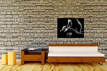 bilderdepot24 tableau toile toile sur ch ssis en bois couple rotisme noir noir et. Black Bedroom Furniture Sets. Home Design Ideas