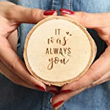 Koyal Wholesale Engraved Wedding Ring Box, Real Wood Engagement Ring Box, Wedding Ring Bearer, Wedding Box for Rings, Rustic Ring Box, Proposal Box (It Was Always You, Birch) (Color: It Was Always You)