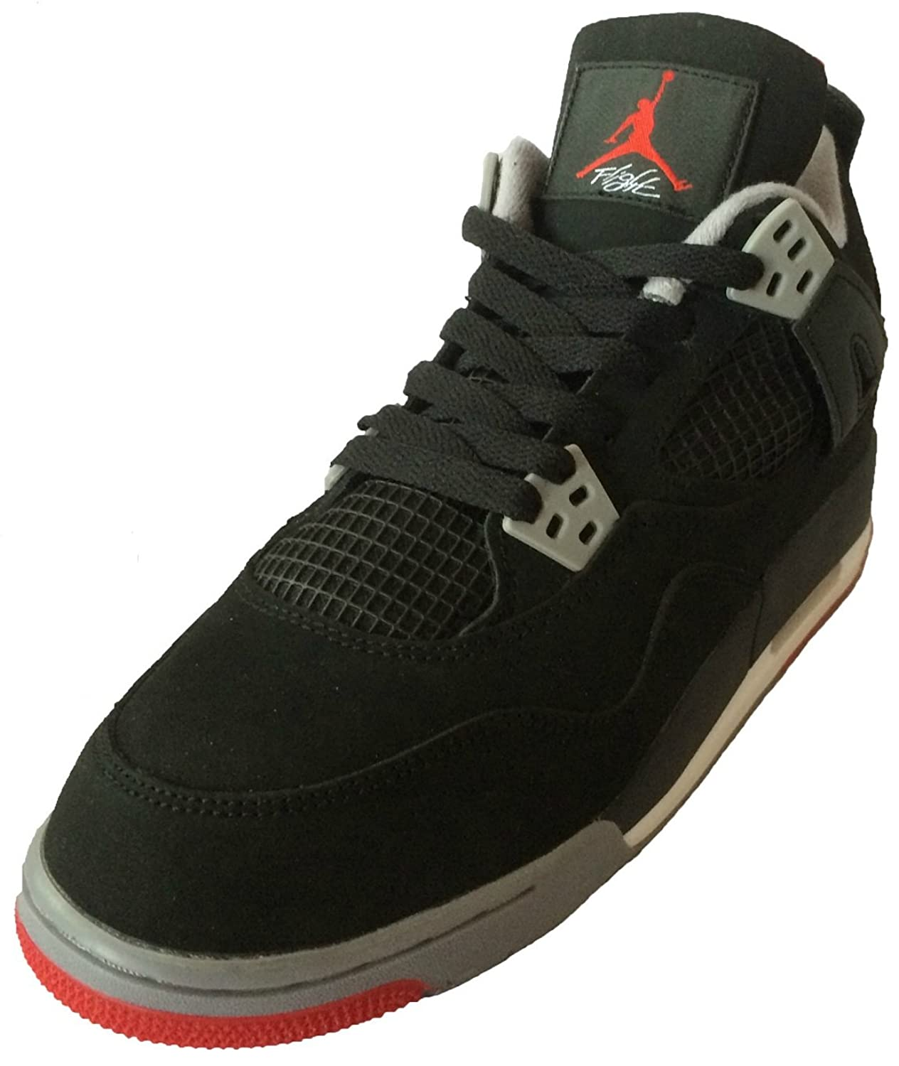 Air Jordan 4 Retro (Black/Cement Grey-Fire Red) Mens \\u0026amp