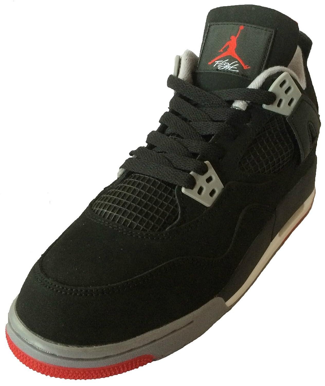 Air Jordan 4 Retro (Black/Cement Grey-Fire Red) Mens \\u0026amp