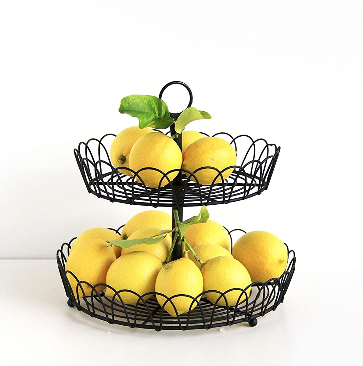 Tagway Home Black Metal 2-Tiered Stand, Fruit Storage, Display Basket, Countertop Organizer