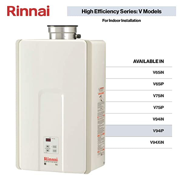 Rinnai V Series HE Tankless Hot Water Heater: Indoor Installation (Color: V94iP - Propane/9.4 GPM)