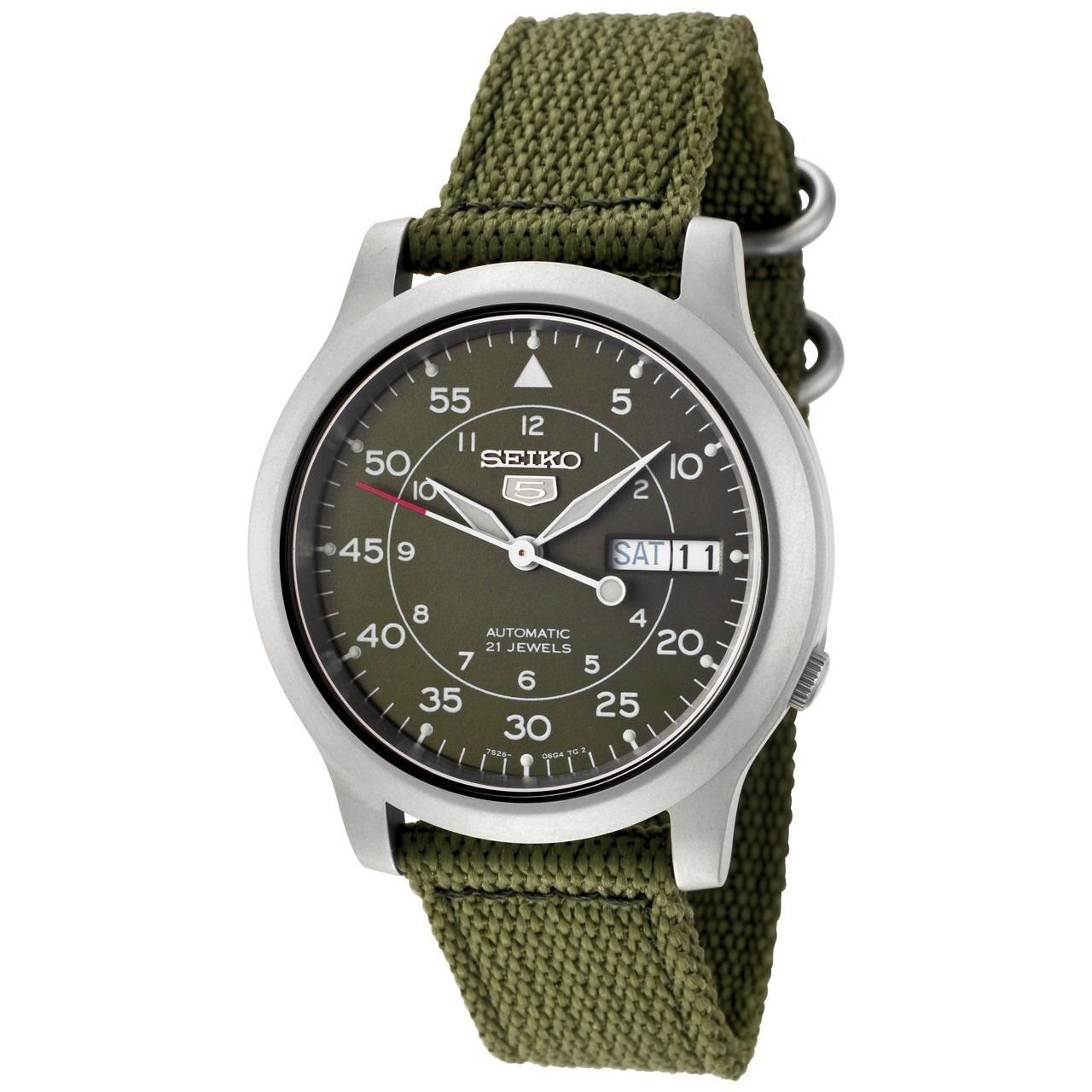 Seiko Men&#8217;s SNK805 Seiko 5 Automatic Green Canvas Strap Watch $55.01