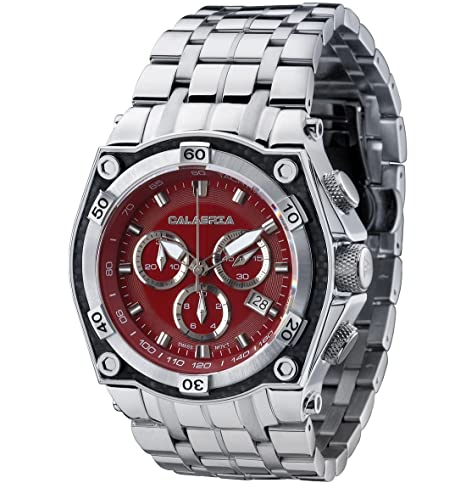 CALABRIA-FUOCO-Red-Chronograph-Men-s-Watch-with-Carbon-Fiber-Bezel-and-Stainless-Steel-Band