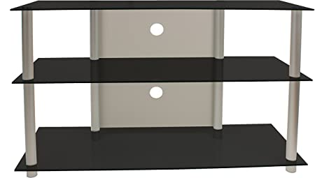 VCM Olopa - Mueble para TV, XXL, color plata y cristal de color negro