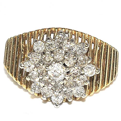 Rings-MidwestJewellery.com Women's 1Cttww Diamond Cluster Wedding Ring 14K Yellow Gold 13Mm Wide(I Color 1Cttw)
