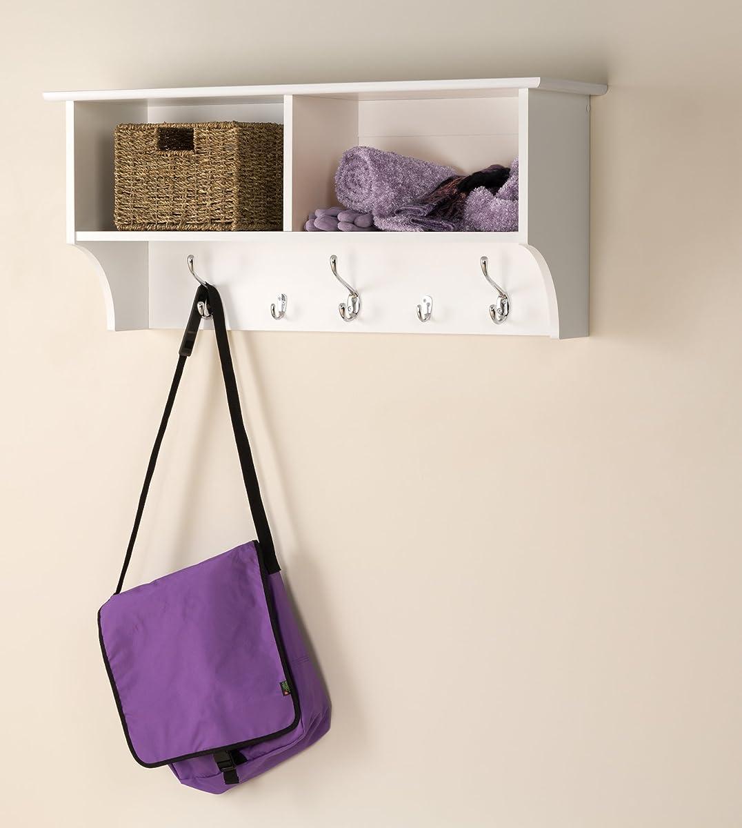 "Prepac 36"" Wide Hanging Entryway Shelf in White"