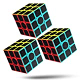 Rubiks Cube Speed Cube 3x3x3 Magic Carbon Fiber Sticker Smooth Rubix Cube, Enhanced Version Black - Pack of 3 (Color: Black-3)