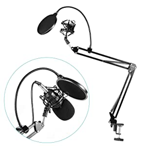 Neewer NB-35 Microphone Suspension Boom Scissor Arm Stand with Mic Clip Holder and Table Mounting Clamp & NW(B-3) Pop Filter Windscreen Mask Shield & Metal Microphone Shock Mount Kit