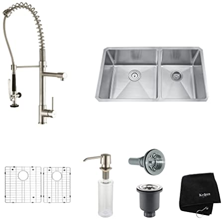 "Kraus KHU103-33-KPF1602-KSD30SS 33"" Undermount Double Bowl Stainless Steel Kitchen Sink with Stainless Steel Finish Kitchen Faucet and Soap Dispenser"